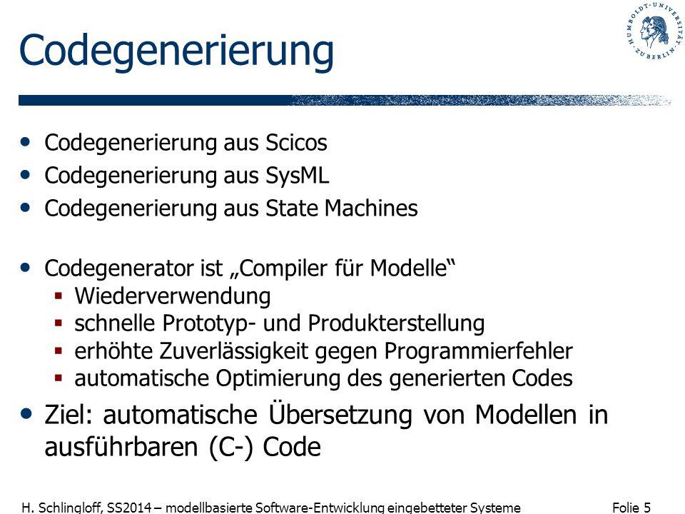 Folie 5 H. Schlingloff, SS2014 – modellbasierte Software-Entwicklung eingebetteter Systeme Codegenerierung Codegenerierung aus Scicos Codegenerierung