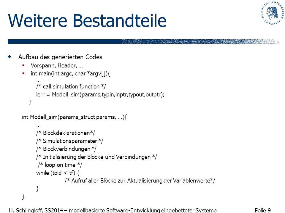 Folie 9 H. Schlingloff, SS2014 – modellbasierte Software-Entwicklung eingebetteter Systeme Weitere Bestandteile Aufbau des generierten Codes  Vorspan