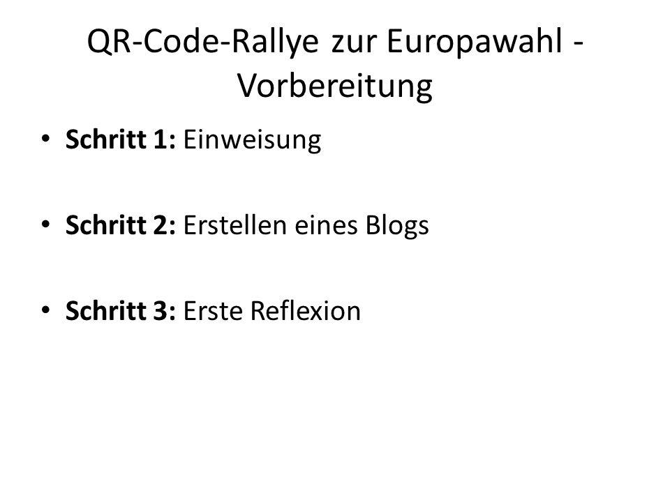 QR-Code-Rallye zur Europawahl - Vorbereitung Schritt 1: Einweisung Schritt 2: Erstellen eines Blogs Schritt 3: Erste Reflexion