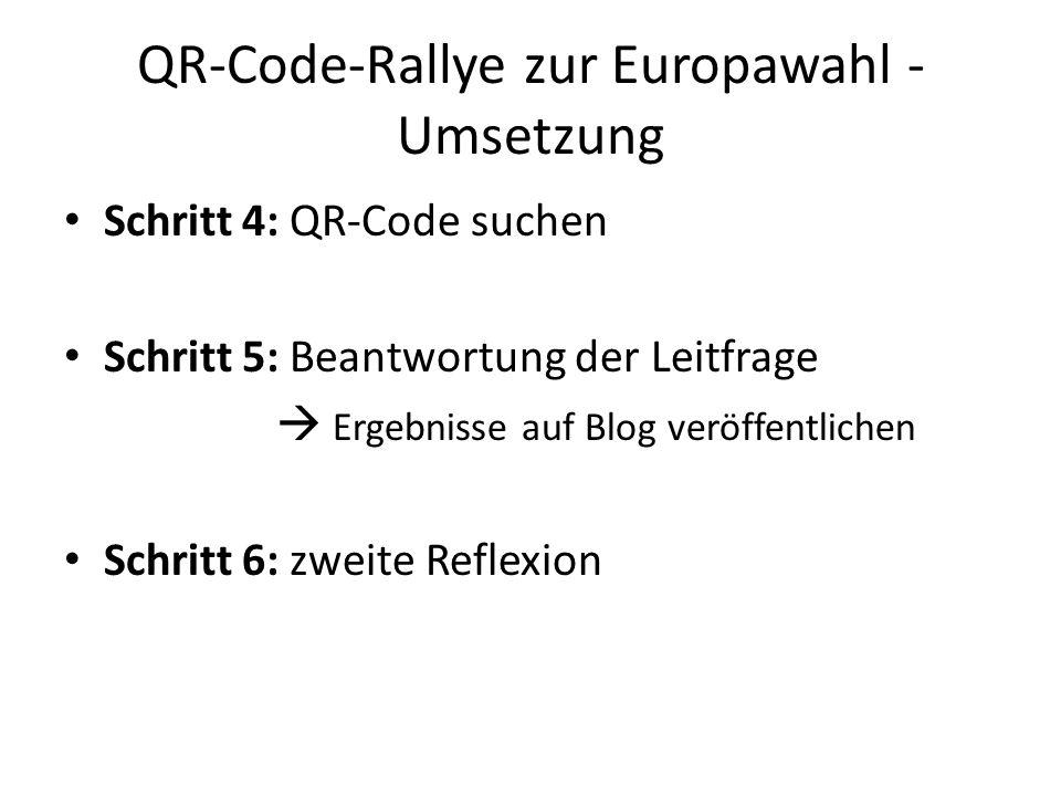 QR-Code-Rallye zur Europawahl - Umsetzung Schritt 4: QR-Code suchen Schritt 5: Beantwortung der Leitfrage  Ergebnisse auf Blog veröffentlichen Schrit