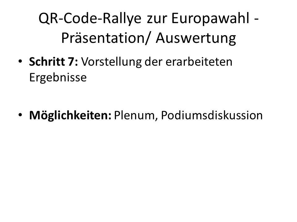QR-Code-Rallye zur Europawahl - Präsentation/ Auswertung Schritt 7: Vorstellung der erarbeiteten Ergebnisse Möglichkeiten: Plenum, Podiumsdiskussion