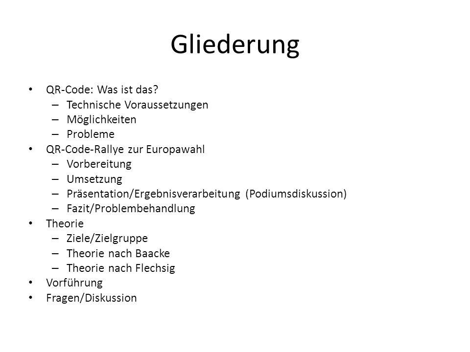 Gliederung QR-Code: Was ist das? – Technische Voraussetzungen – Möglichkeiten – Probleme QR-Code-Rallye zur Europawahl – Vorbereitung – Umsetzung – Pr