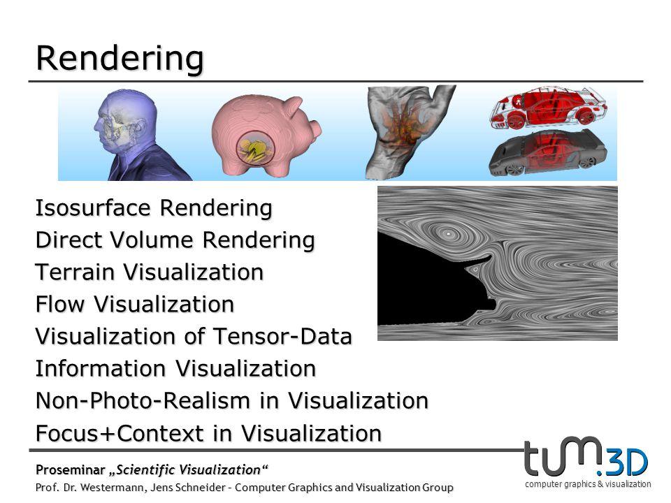 computer graphics & visualization Rendering Isosurface Rendering Direct Volume Rendering Terrain Visualization Flow Visualization Visualization of Ten