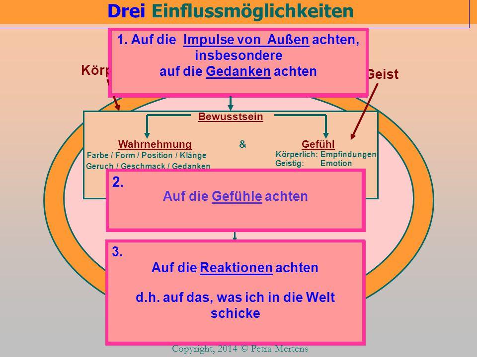 3. 1. Drei Einflussmöglichkeiten Copyright, 2014 © Petra Mertens Impulse aus der Welt Über die 6 Sinne Bewusstsein Körperlich: Empfindungen Geistig: E