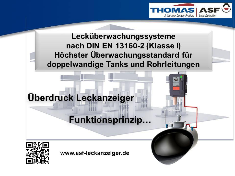 1 Lecküberwachungssysteme nach DIN EN 13160-2 (Klasse I) Höchster Überwachungsstandard für doppelwandige Tanks und Rohrleitungen Überdruck Leckanzeige