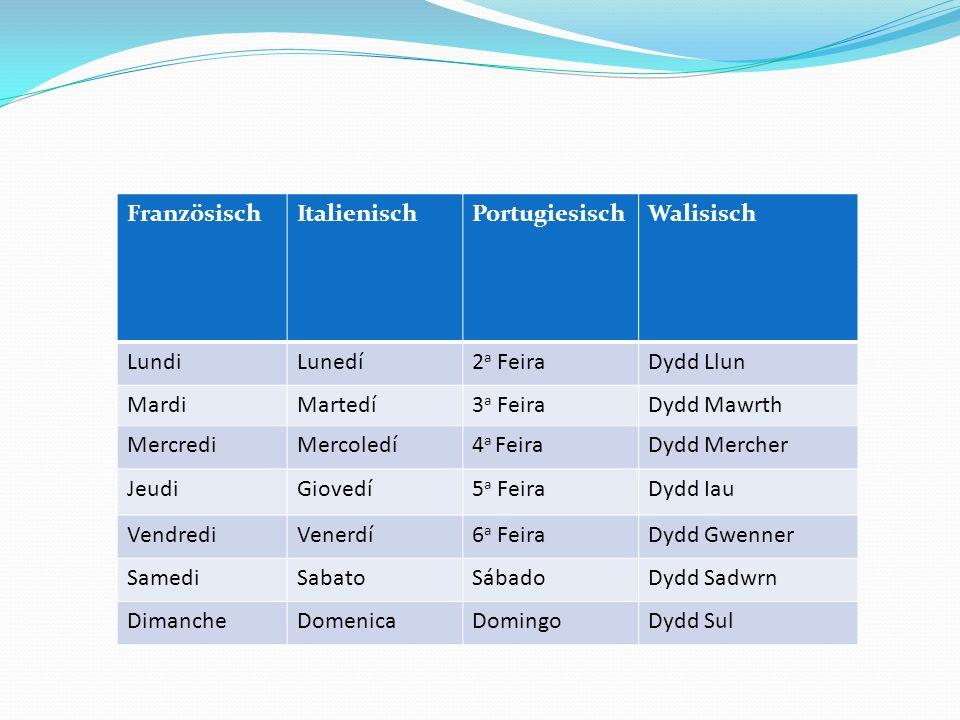 FranzösischItalienischPortugiesischWalisisch LundiLunedí2 a FeiraDydd Llun MardiMartedí3 a FeiraDydd Mawrth MercrediMercoledí4 a FeiraDydd Mercher Jeu