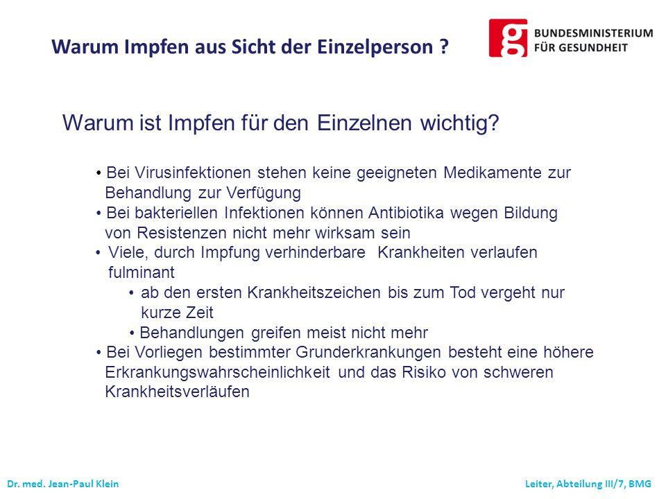 Dr.med. Jean-Paul Klein Leiter, Abteilung III/7, BMG Warum ist Impfen für den Einzelnen wichtig.