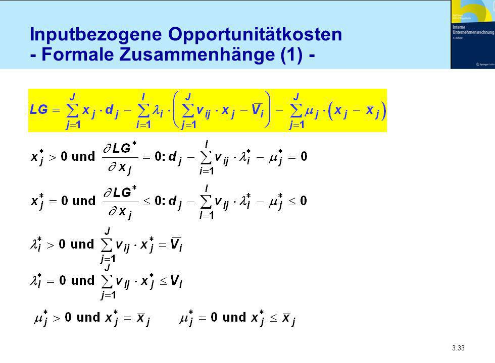3.33 Inputbezogene Opportunitätkosten - Formale Zusammenhänge (1) -