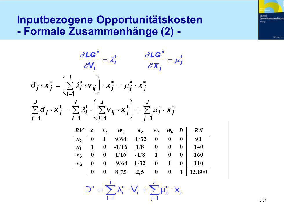 3.34 Inputbezogene Opportunitätskosten - Formale Zusammenhänge (2) -