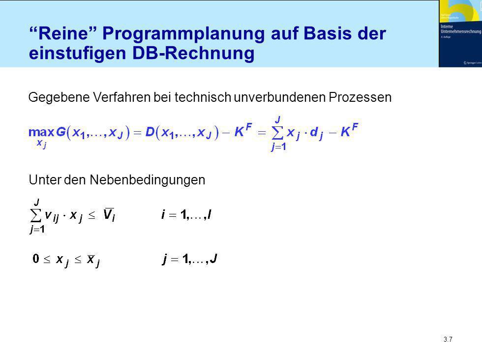 3.7 Reine Programmplanung auf Basis der einstufigen DB-Rechnung Gegebene Verfahren bei technisch unverbundenen Prozessen Unter den Nebenbedingungen