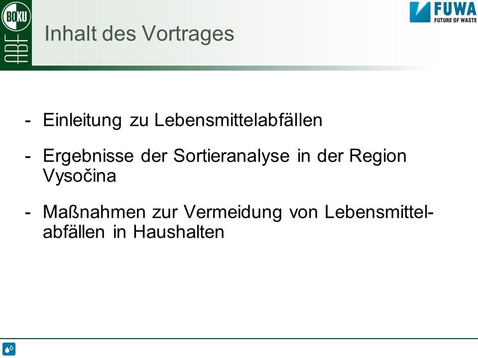 Inhalt des Vortrages -Einleitung zu Lebensmittelabfällen -Ergebnisse der Sortieranalyse in der Region Vysočina -Maßnahmen zur Vermeidung von Lebensmittel- abfällen in Haushalten