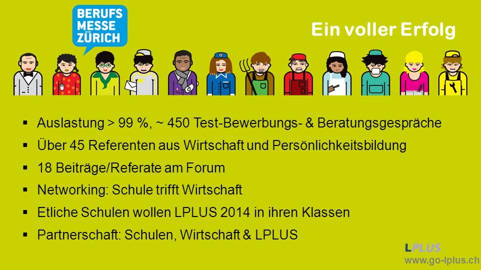 www.go-lplus.ch Ein voller Erfolg  Auslastung > 99 %, ~ 450 Test-Bewerbungs- & Beratungsgespräche  Über 45 Referenten aus Wirtschaft und Persönlichk