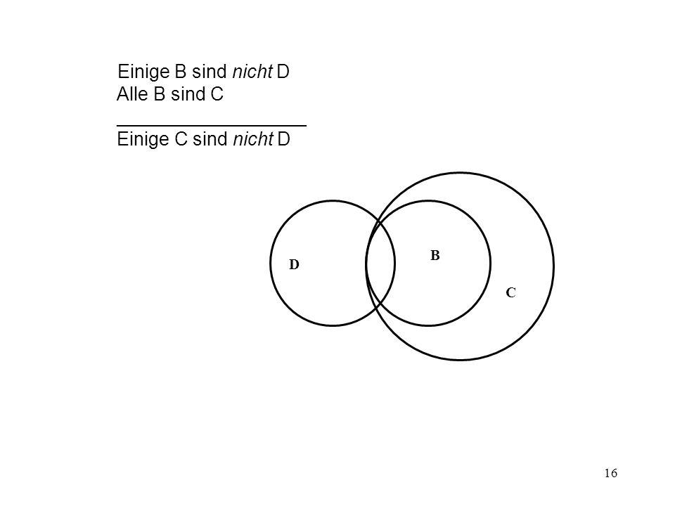 16 Einige B sind nicht D Alle B sind C __________________ Einige C sind nicht D B C D