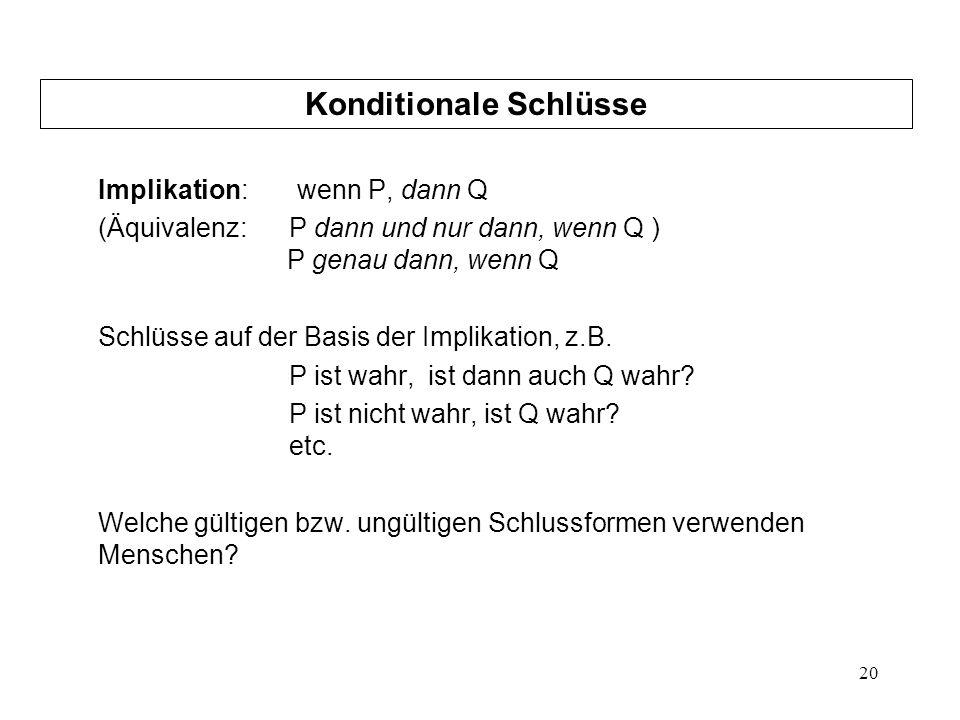 20 Implikation: wenn P, dann Q (Äquivalenz: P dann und nur dann, wenn Q ) P genau dann, wenn Q Schlüsse auf der Basis der Implikation, z.B.