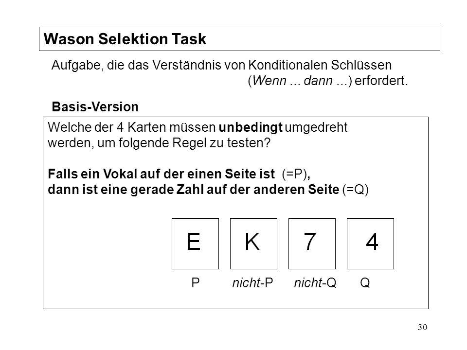 30 Wason Selektion Task Aufgabe, die das Verständnis von Konditionalen Schlüssen (Wenn...