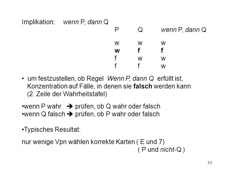 31 Implikation: wenn P, dann Q PQwenn P, dann Q www wff fww ffw um festzustellen, ob Regel Wenn P, dann Q erfüllt ist, Konzentration auf Fälle, in denen sie falsch werden kann (2.