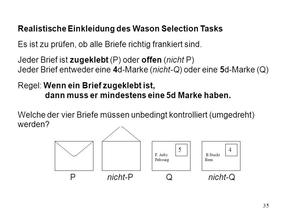 35 Realistische Einkleidung des Wason Selection Tasks Es ist zu prüfen, ob alle Briefe richtig frankiert sind.