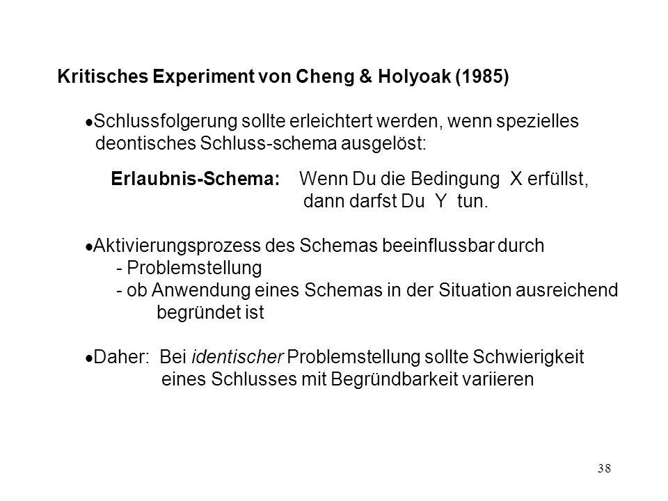 38 Kritisches Experiment von Cheng & Holyoak (1985)  Schlussfolgerung sollte erleichtert werden, wenn spezielles deontisches Schluss-schema ausgelöst:  Erlaubnis-Schema: Wenn Du die Bedingung X erfüllst, dann darfst Du Y tun.