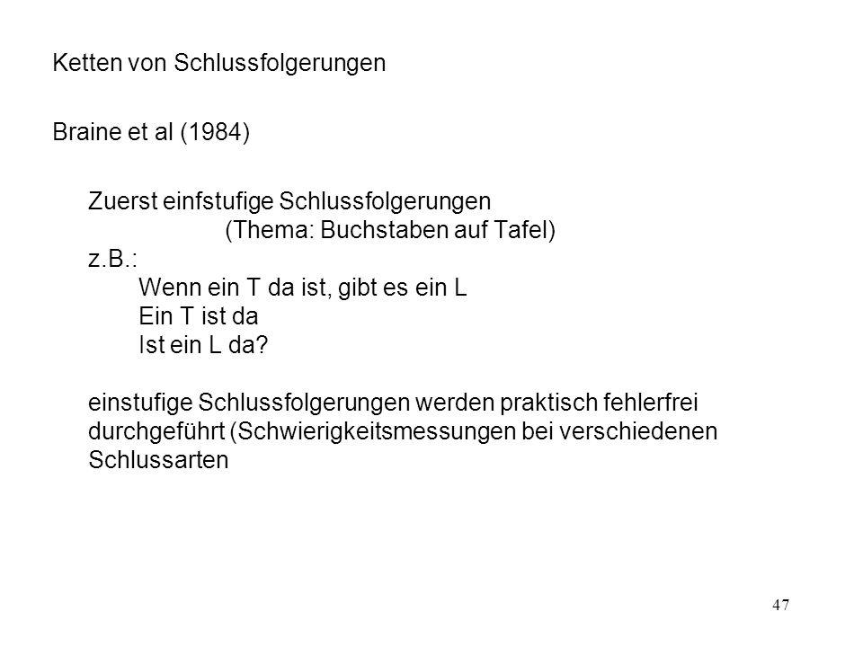 47 Ketten von Schlussfolgerungen Braine et al (1984) Zuerst einfstufige Schlussfolgerungen (Thema: Buchstaben auf Tafel) z.B.: Wenn ein T da ist, gibt es ein L Ein T ist da Ist ein L da.