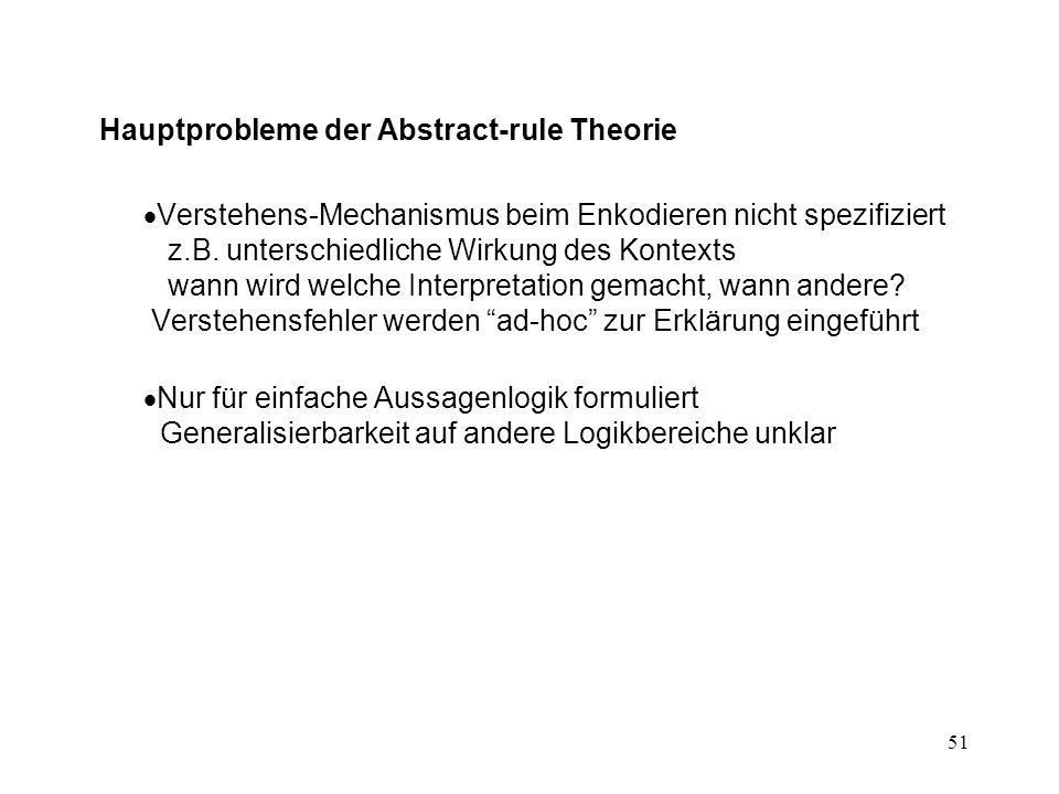 51 Hauptprobleme der Abstract-rule Theorie  Verstehens-Mechanismus beim Enkodieren nicht spezifiziert z.B.