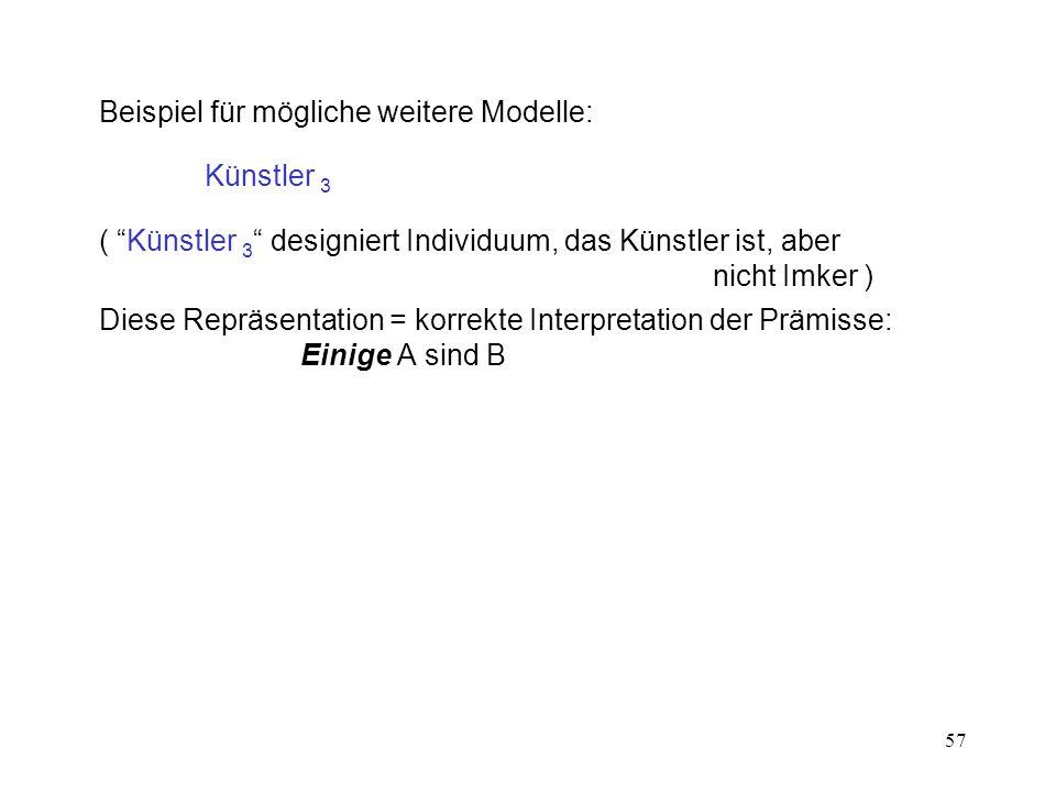 57 Beispiel für mögliche weitere Modelle: Künstler 3 ( Künstler 3 designiert Individuum, das Künstler ist, aber nicht Imker ) Diese Repräsentation = korrekte Interpretation der Prämisse: Einige A sind B