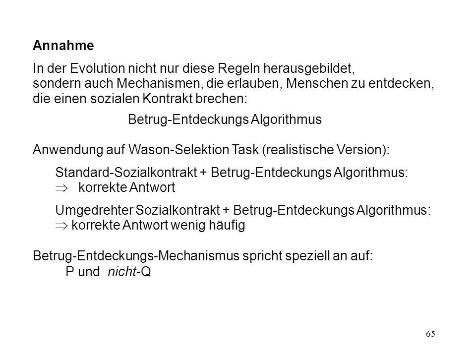 65 Annahme In der Evolution nicht nur diese Regeln herausgebildet, sondern auch Mechanismen, die erlauben, Menschen zu entdecken, die einen sozialen Kontrakt brechen: Betrug-Entdeckungs Algorithmus Anwendung auf Wason-Selektion Task (realistische Version): Standard-Sozialkontrakt + Betrug-Entdeckungs Algorithmus:  korrekte Antwort Umgedrehter Sozialkontrakt + Betrug-Entdeckungs Algorithmus:  korrekte Antwort wenig häufig Betrug-Entdeckungs-Mechanismus spricht speziell an auf: P und nicht-Q