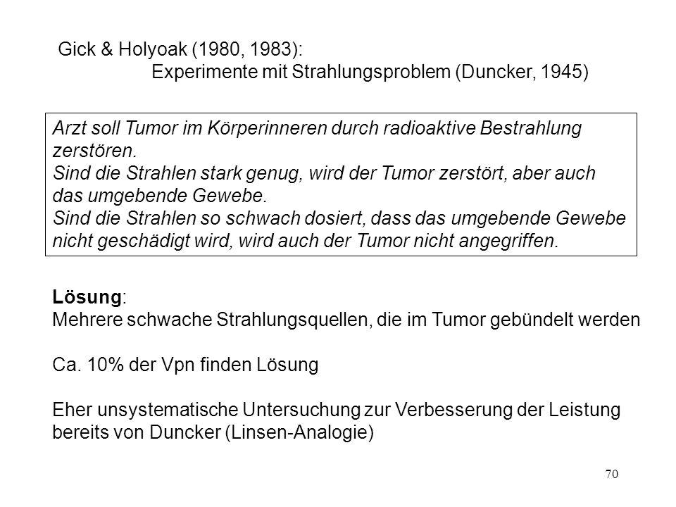 70 Lösung: Mehrere schwache Strahlungsquellen, die im Tumor gebündelt werden Ca.