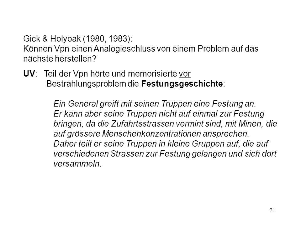 71 Gick & Holyoak (1980, 1983): Können Vpn einen Analogieschluss von einem Problem auf das nächste herstellen.