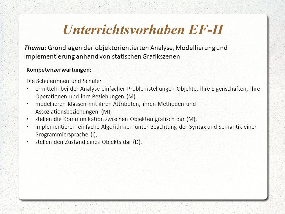 Unterrichtsvorhaben EF-II Thema: Grundlagen der objektorientierten Analyse, Modellierung und Implementierung anhand von statischen Grafikszenen Kompet