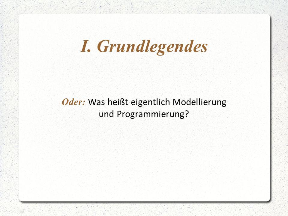 I. Grundlegendes Oder: Was heißt eigentlich Modellierung und Programmierung?
