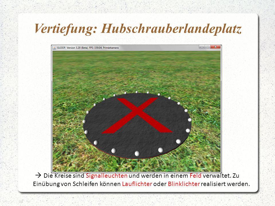 Vertiefung: Hubschrauberlandeplatz  Die Kreise sind Signalleuchten und werden in einem Feld verwaltet. Zu Einübung von Schleifen können Lauflichter o