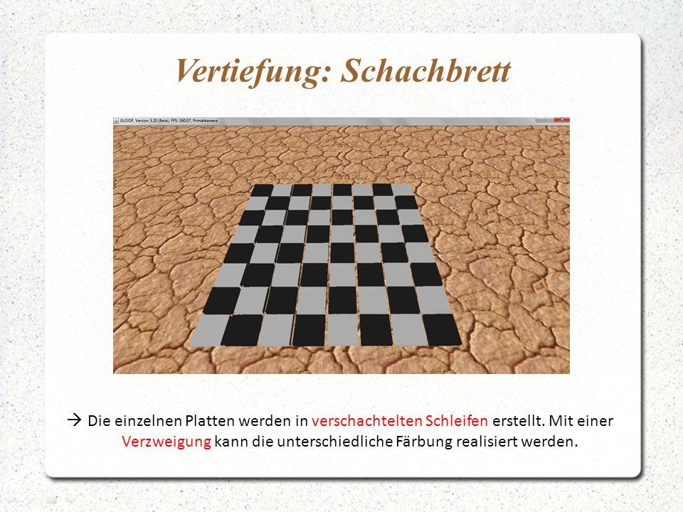 Vertiefung: Schachbrett  Die einzelnen Platten werden in verschachtelten Schleifen erstellt. Mit einer Verzweigung kann die unterschiedliche Färbung
