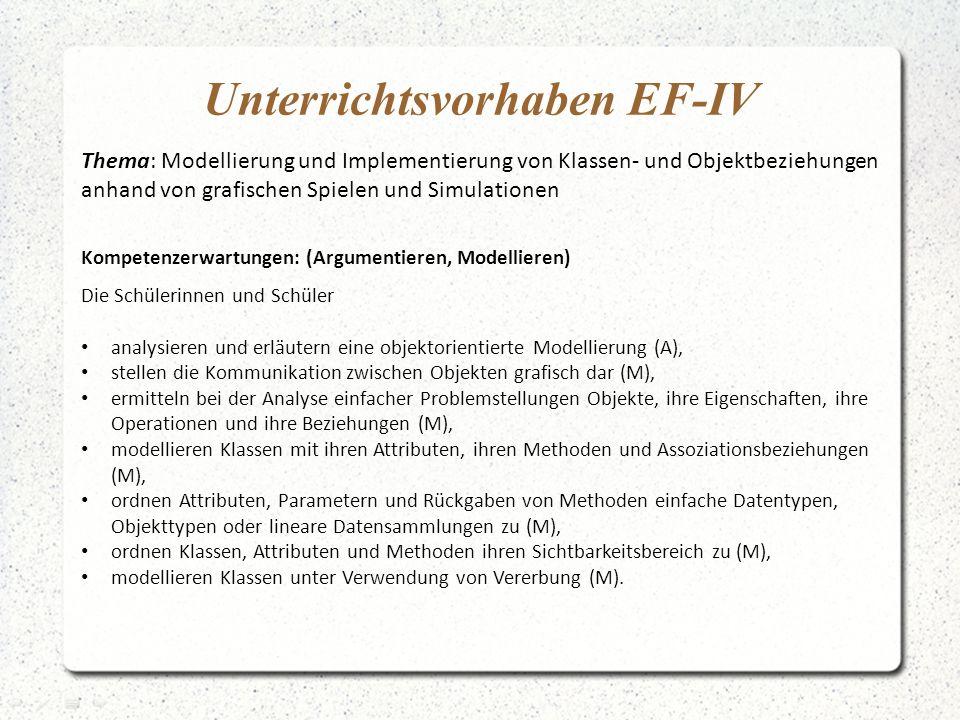 Unterrichtsvorhaben EF-IV Thema: Modellierung und Implementierung von Klassen- und Objektbeziehungen anhand von grafischen Spielen und Simulationen Ko