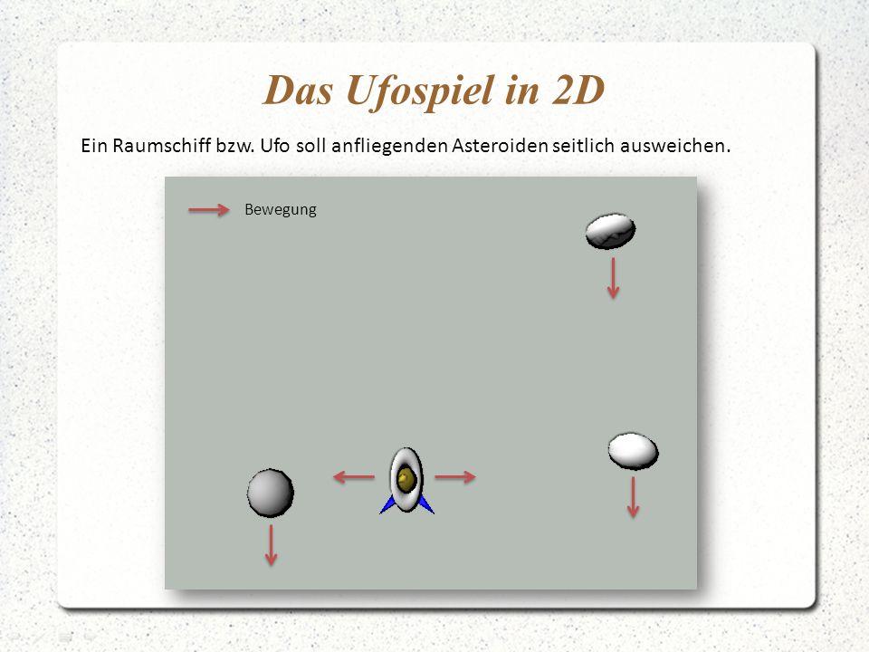 Das Ufospiel in 2D Ein Raumschiff bzw.Ufo soll anfliegenden Asteroiden seitlich ausweichen.
