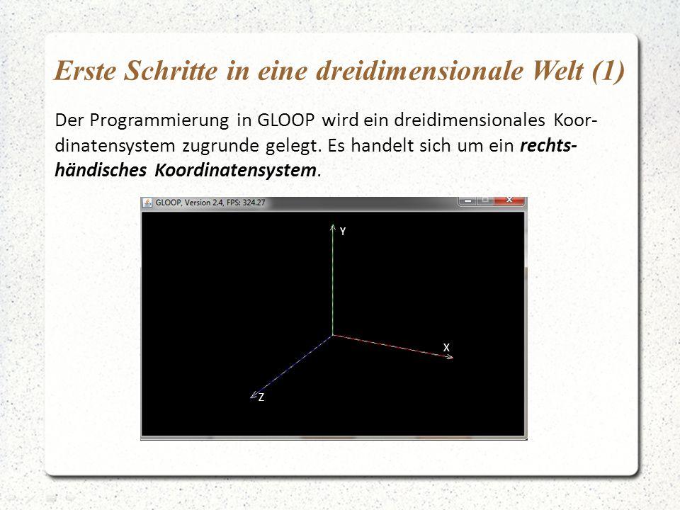 Erste Schritte in eine dreidimensionale Welt (1) Der Programmierung in GLOOP wird ein dreidimensionales Koor- dinatensystem zugrunde gelegt.