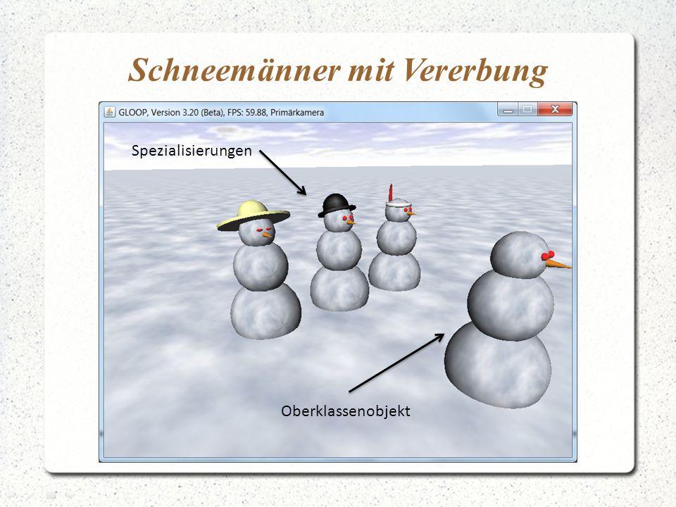 Schneemänner mit Vererbung Oberklassenobjekt Spezialisierungen
