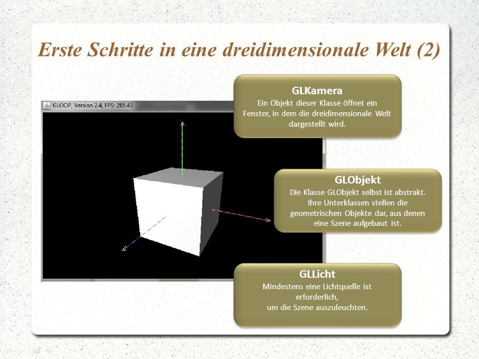 Erste Schritte in eine dreidimensionale Welt (2) GLKamera Ein Objekt dieser Klasse öffnet ein Fenster, in dem die dreidimensionale Welt dargestellt wi