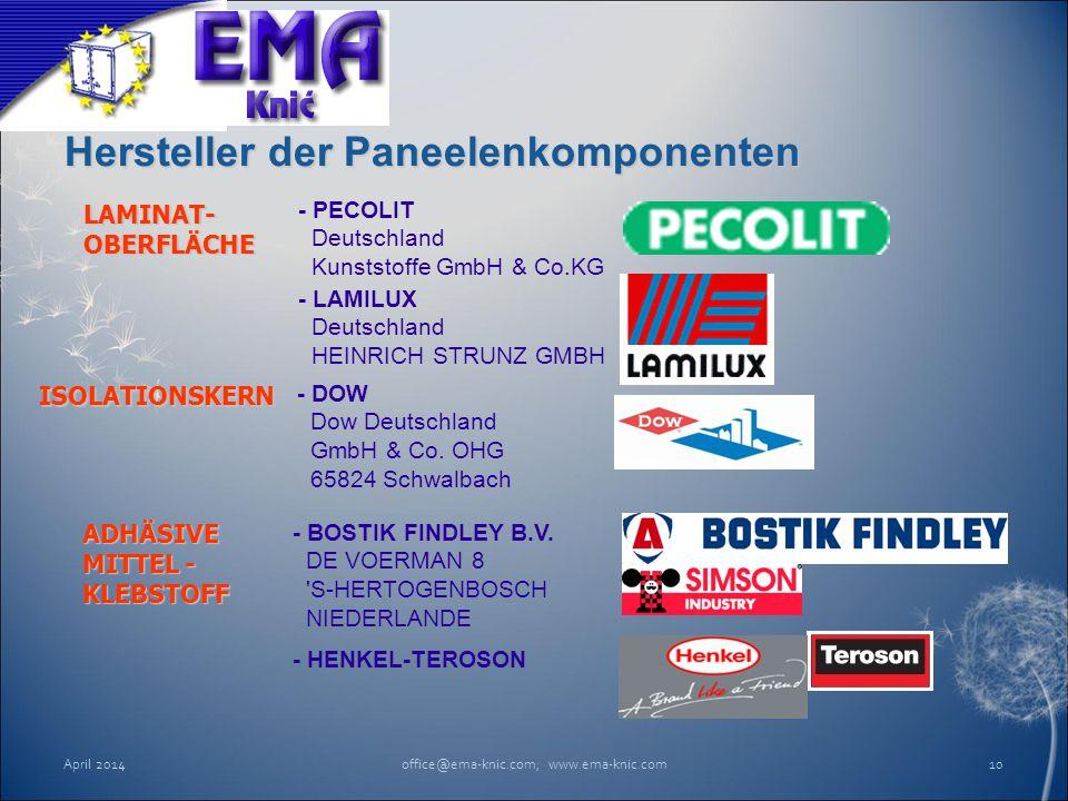 Hersteller der Paneelenkomponenten April 2014office@ema-knic.com; www.ema-knic.com10 - BOSTIK FINDLEY B.V. DE VOERMAN 8 'S-HERTOGENBOSCH NIEDERLANDE A