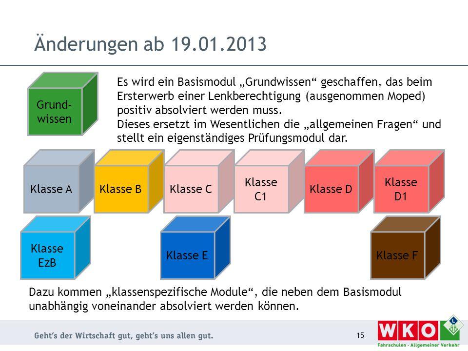 """Änderungen ab 19.01.2013 15 Grund- wissen Es wird ein Basismodul """"Grundwissen"""" geschaffen, das beim Ersterwerb einer Lenkberechtigung (ausgenommen Mop"""