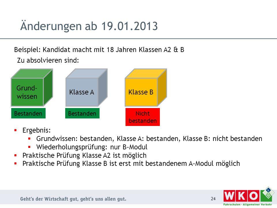 Änderungen ab 19.01.2013 24 Grund- wissen Zu absolvieren sind: Klasse AKlasse B Beispiel: Kandidat macht mit 18 Jahren Klassen A2 & B  Ergebnis:  Gr