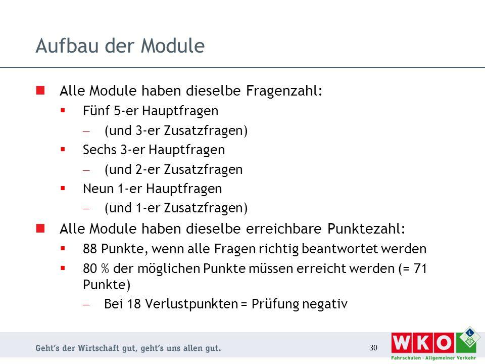 Aufbau der Module Alle Module haben dieselbe Fragenzahl:  Fünf 5-er Hauptfragen – (und 3-er Zusatzfragen)  Sechs 3-er Hauptfragen – (und 2-er Zusatz