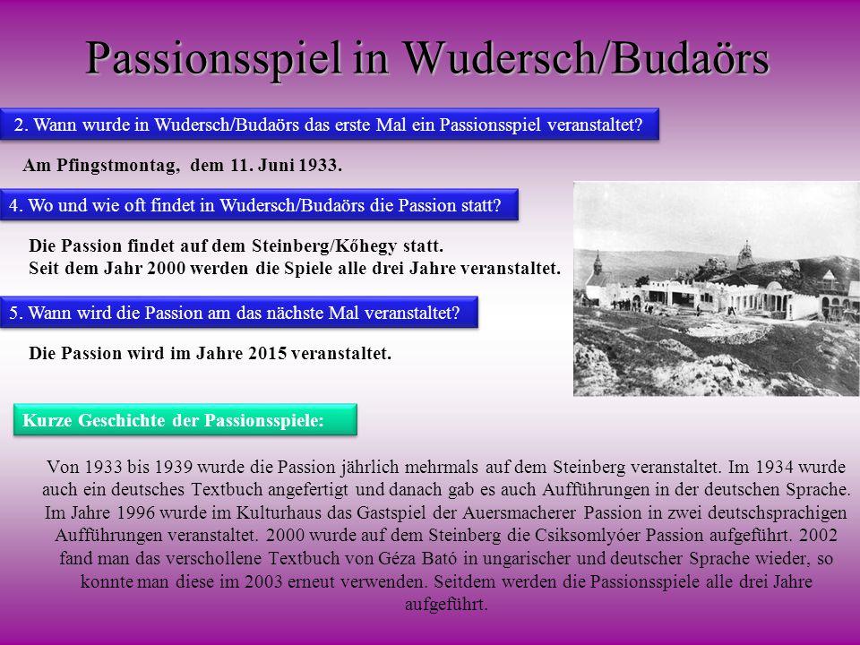 Passionsspiel in Wudersch/Budaörs Von 1933 bis 1939 wurde die Passion jährlich mehrmals auf dem Steinberg veranstaltet. Im 1934 wurde auch ein deutsch