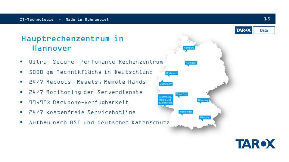 15 IT-Technologie - Made im Ruhrgebiet Hauptrechenzentrum in Hannover  Ultra- Secure- Perfomance-Rechenzentrum  5000 qm Technikfläche in Deutschland  24/7 Reboots, Resets, Remote Hands  24/7 Monitoring der Serverdienste  99,99% Backbone-Verfügbarkeit  24/7 kostenfreie Servicehotline  Aufbau nach BSI und deutschem Datenschutz