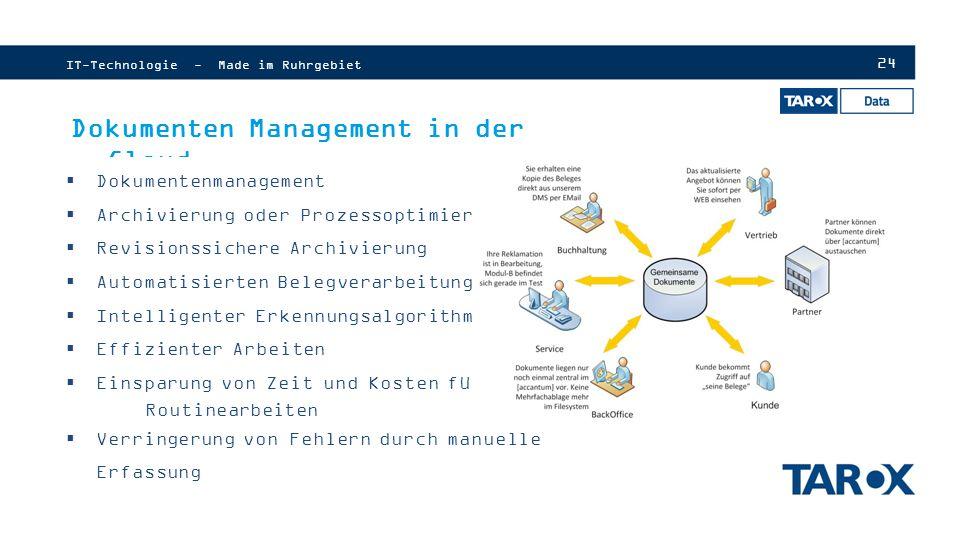 24 Dokumenten Management in der Cloud  Dokumentenmanagement  Archivierung oder Prozessoptimierung  Revisionssichere Archivierung  Automatisierten Belegverarbeitung  Intelligenter Erkennungsalgorithmen  Effizienter Arbeiten  Einsparung von Zeit und Kosten für Routinearbeiten  Verringerung von Fehlern durch manuelle Erfassung IT-Technologie - Made im Ruhrgebiet