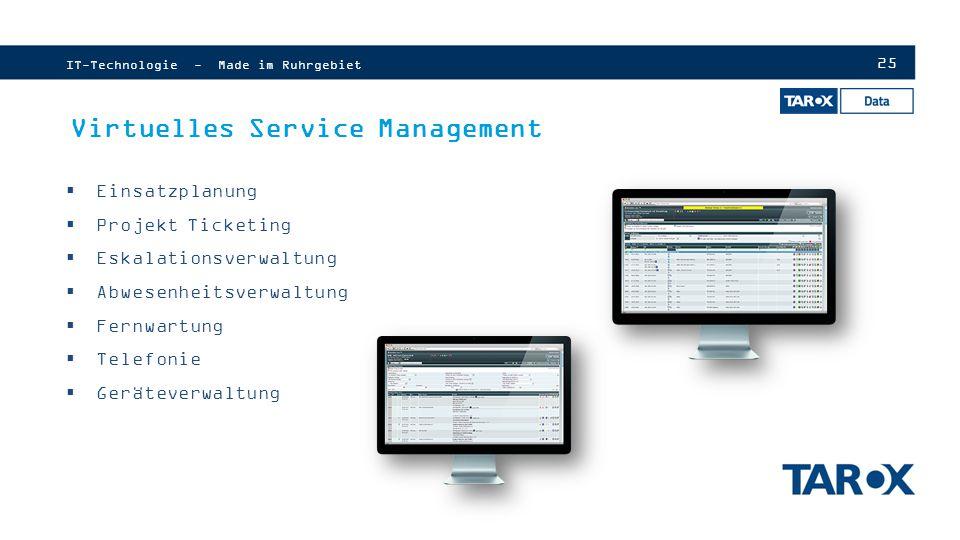 25 Virtuelles Service Management  Einsatzplanung  Projekt Ticketing  Eskalationsverwaltung  Abwesenheitsverwaltung  Fernwartung  Telefonie  Geräteverwaltung IT-Technologie - Made im Ruhrgebiet