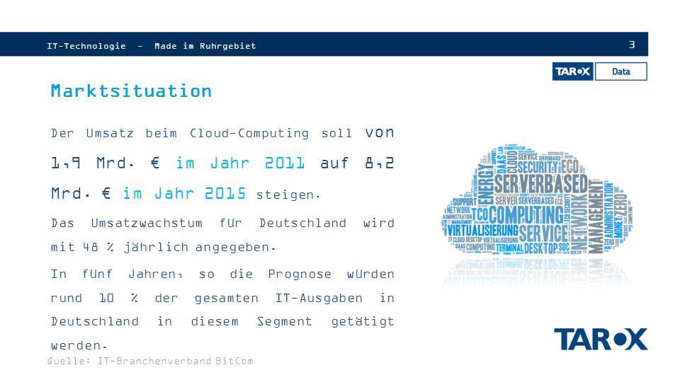 4 Prognose Cloud Computing Services  Stetig wachsender Markt  Umstellung vom Client-Server Ideal zur Cloud Marktvolumen in Mio Euro IT-Technologie - Made im Ruhrgebiet Quelle: Statista.com