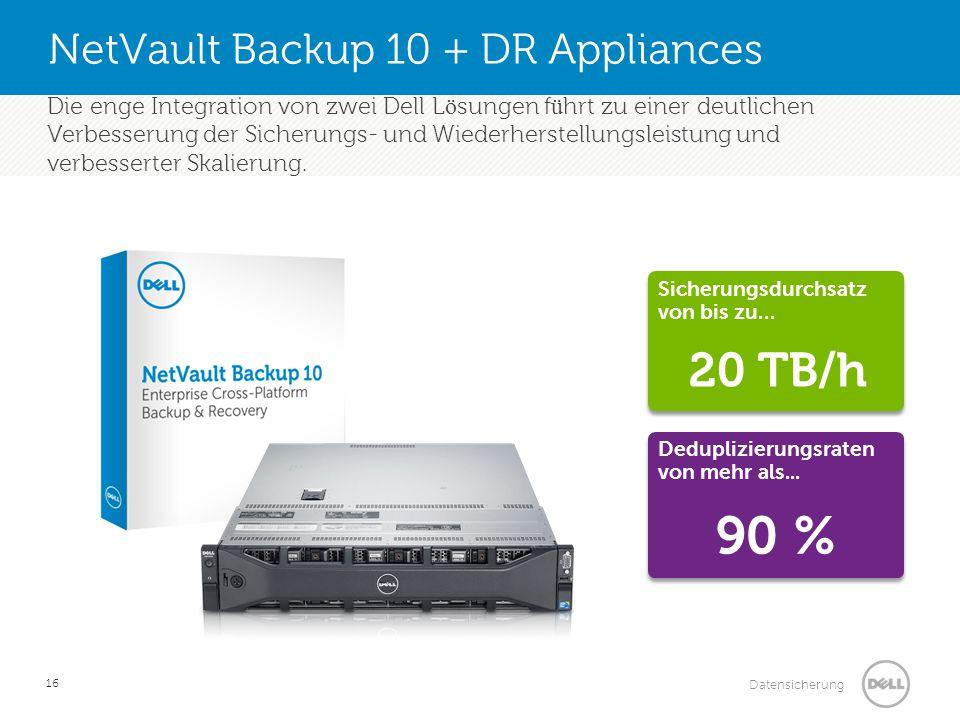 Datensicherung NetVault Backup 10 + DR Appliances 16 Die enge Integration von zwei Dell L ö sungen f ü hrt zu einer deutlichen Verbesserung der Sicher
