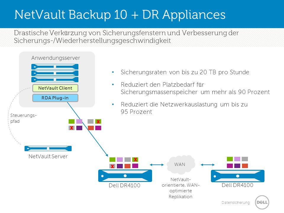Datensicherung Drastische Verk ü rzung von Sicherungsfenstern und Verbesserung der Sicherungs-/Wiederherstellungsgeschwindigkeit Dell DR4100 NetVault