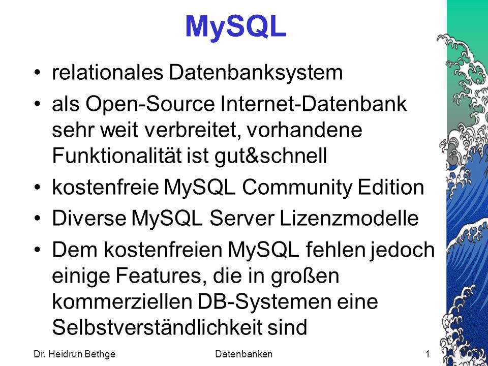 UNION anstelle FULL OUTER JOIN Nicht jedes DBMS hat die FULL OUTER JOIN-Funktionalität.