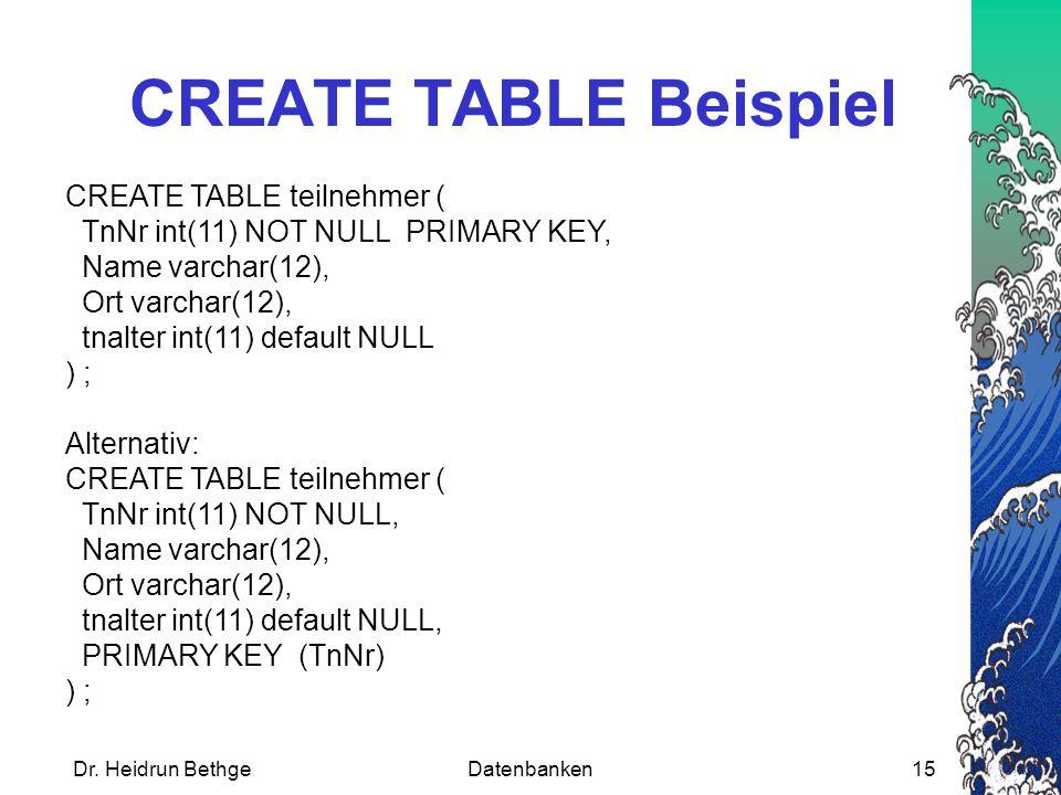 Dr. Heidrun BethgeDatenbanken15 CREATE TABLE Beispiel CREATE TABLE teilnehmer ( TnNr int(11) NOT NULL PRIMARY KEY, Name varchar(12), Ort varchar(12),